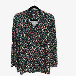 Lands End Floral Rayon Blend L/S Button Up Shirt